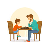 father and son, man and boy playing chess together, fun isolated vector illustration scene