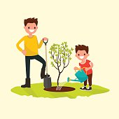 Father and son planting a tree. Vector illustration