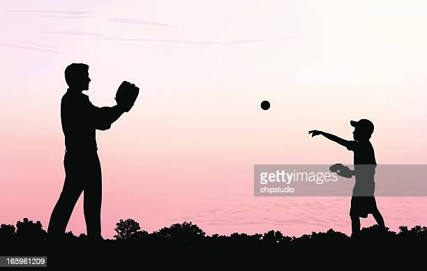 father and son play catch - baseball stock illustrations, clip art, cartoons, & icons