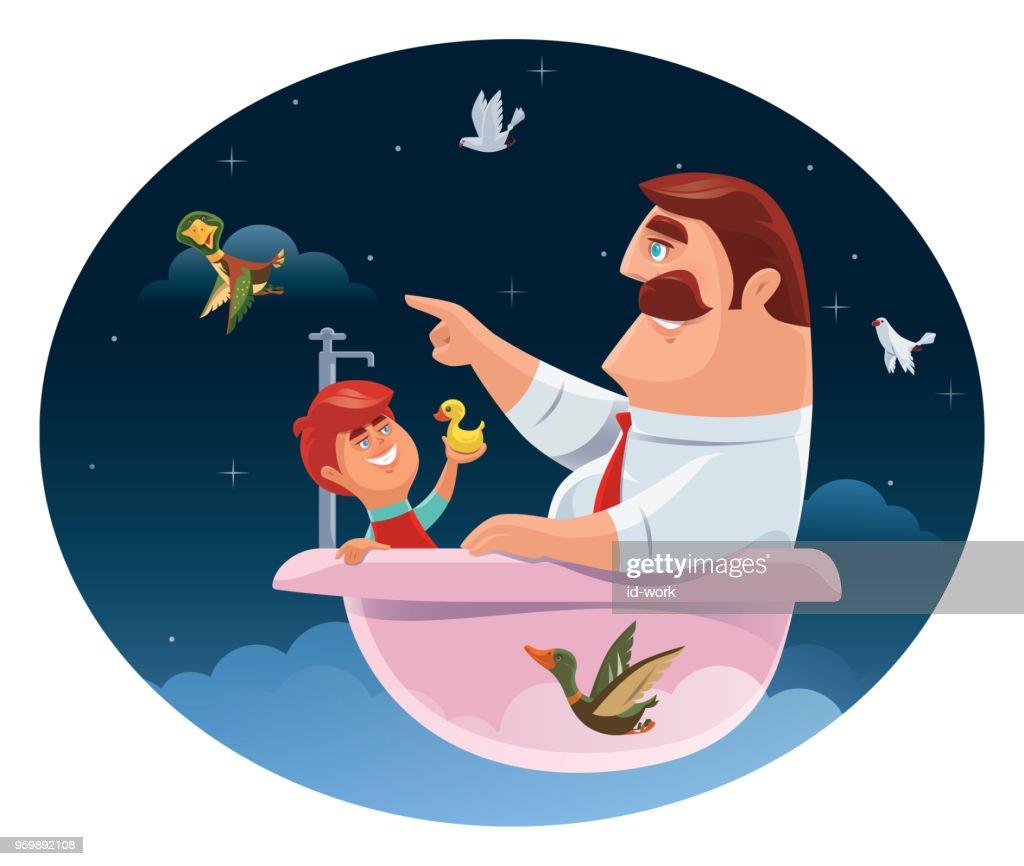 Vater und Sohn sitzen in der Badewanne : Stock-Illustration