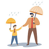 Father and son walk in the autumn rainy weather. Cartoon characters isolated on white background. Vector illustration.