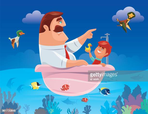 father and son with bathtub sailing the ocean - acanthuridae stock illustrations, clip art, cartoons, & icons