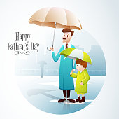 Father and son with umbrella for Father's Day celebration.
