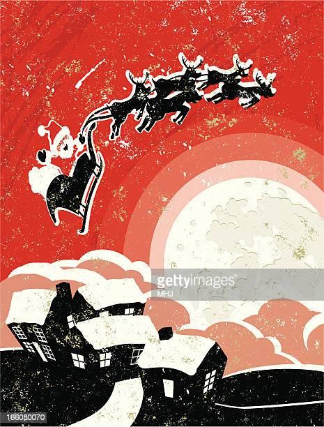 illustrazioni stock, clip art, cartoni animati e icone di tendenza di babbo natale vola in una slitta e la luna. - matrice per serigrafia