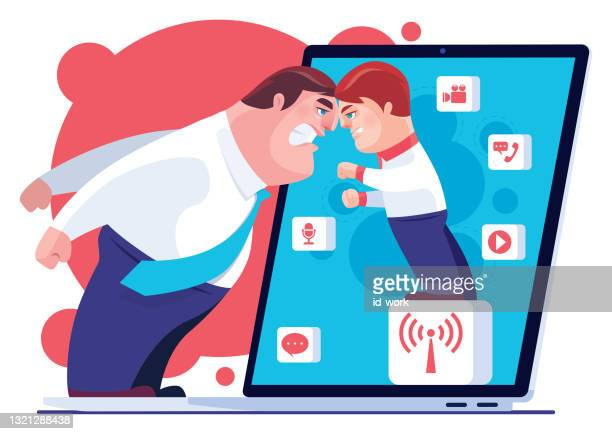 father conflicting with son via laptop - family fighting cartoon stock illustrations