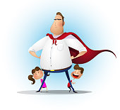 Father daughter and son playing superhero at the day time.