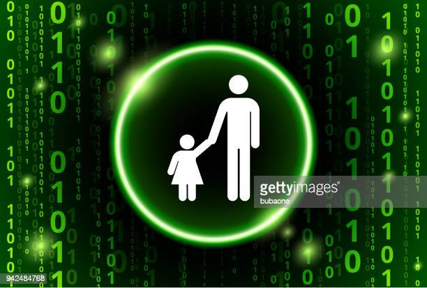 Father & Daughter Binary Code Vector Pattern Background
