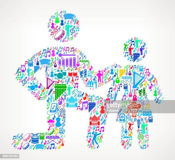 father & daughter music and musical celebration vector icon background - songwriter stock illustrations