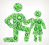 Father & Daughter Nature and Environmental Conservation Icon Pattern