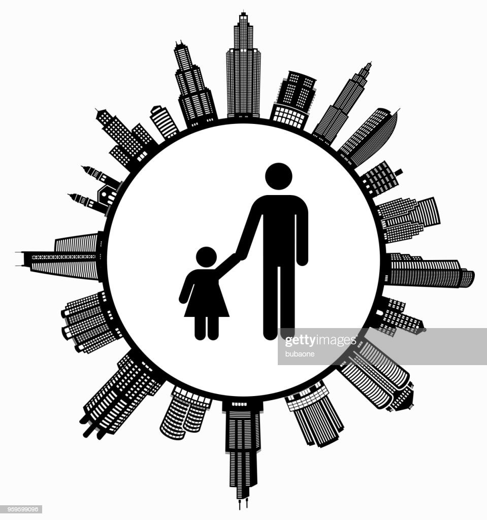 Father & Daughter  on Modern Cityscape Skyline Background : Stock Illustration