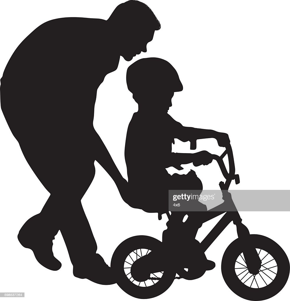 Father helping his child to ride bicycle : stock illustration