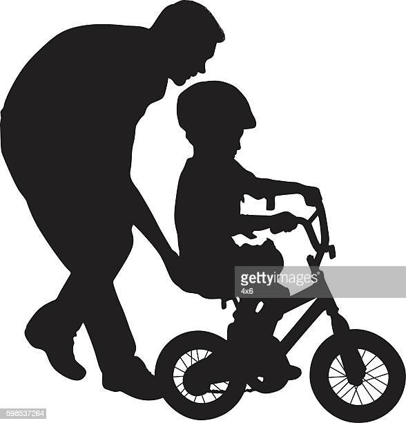 father helping his child to ride bicycle - family cycling stock illustrations, clip art, cartoons, & icons