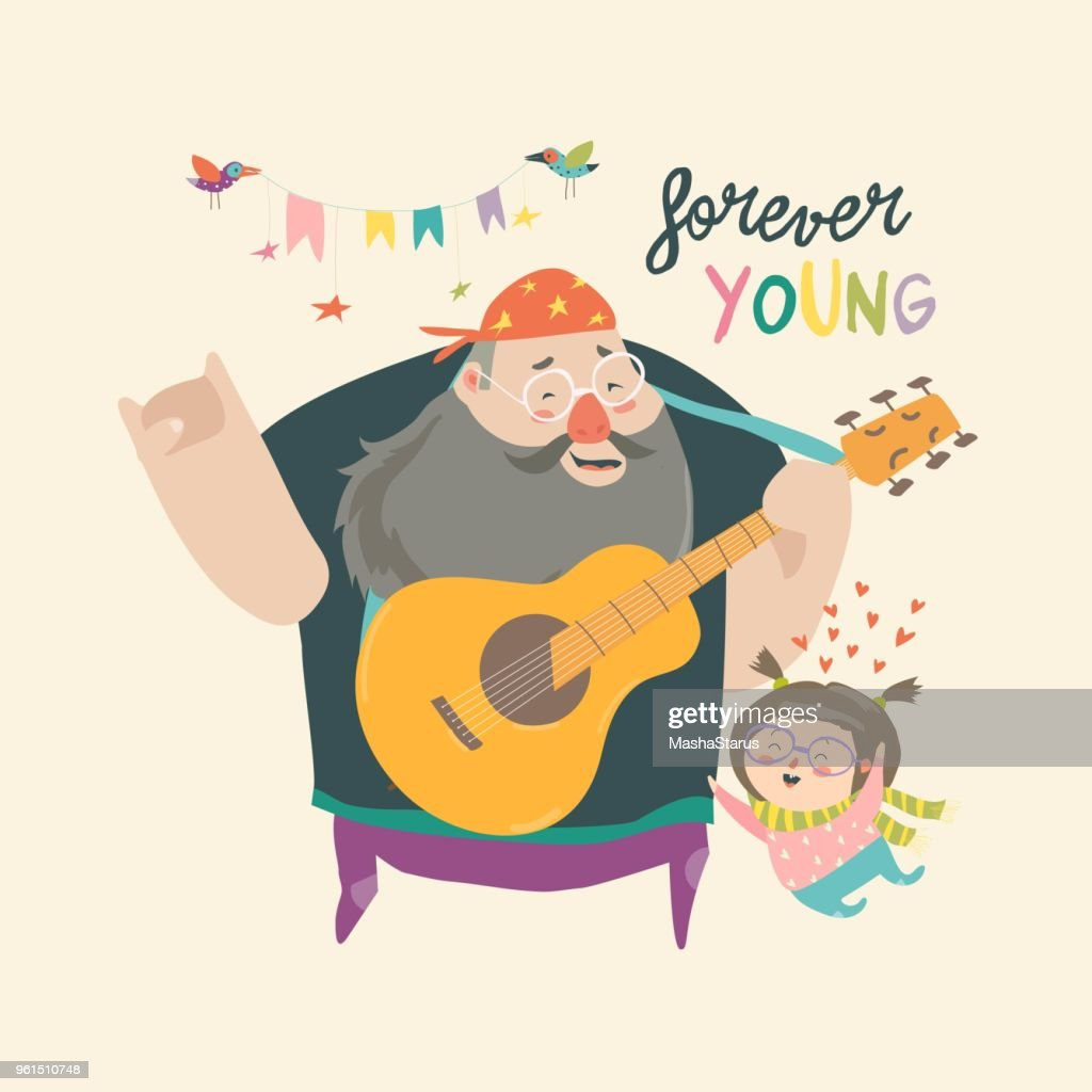 Father playing guitar music to his daughter