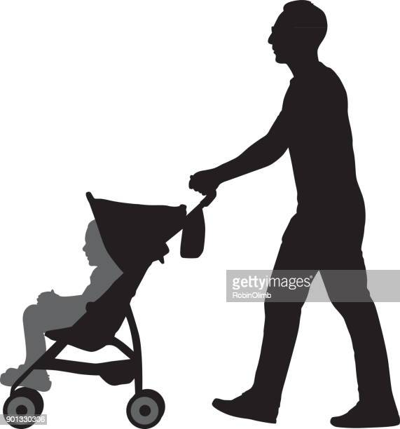 Father Pushing Daughter In Stroller
