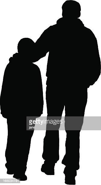 father & son silhouette - nephew stock illustrations