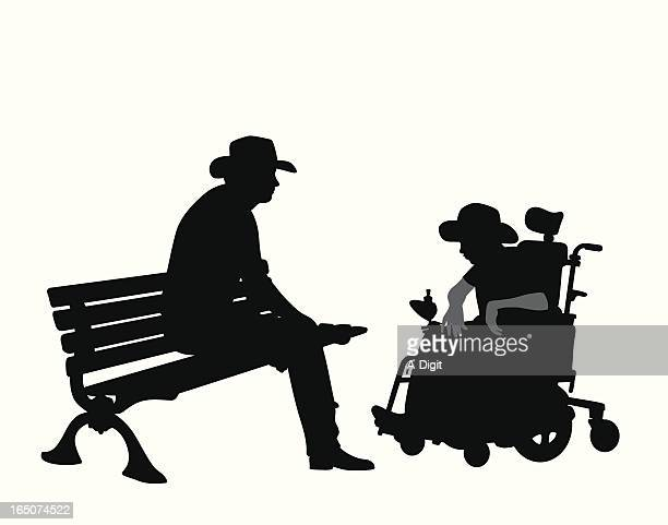 father son vector silhouette - paralysis stock illustrations, clip art, cartoons, & icons