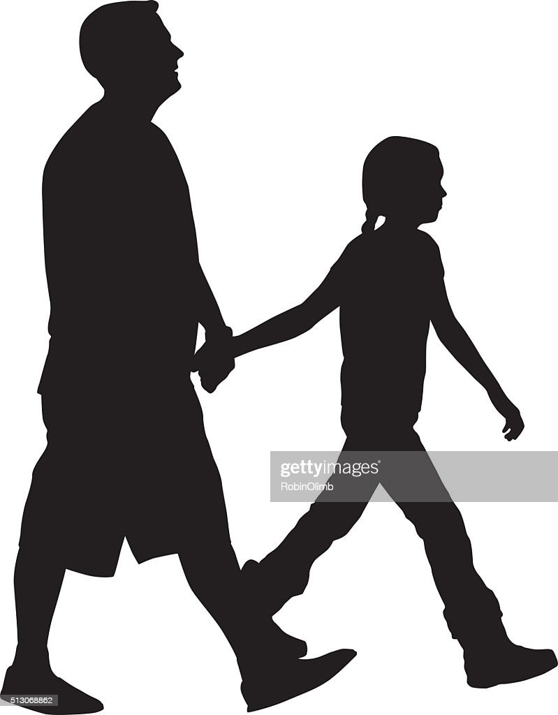 father walking with daughter silhouette vector art