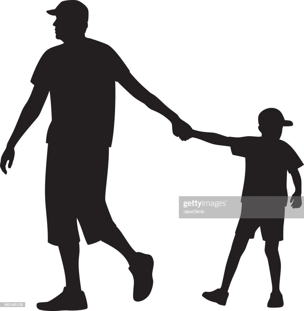 father walking with son silhouette vector art