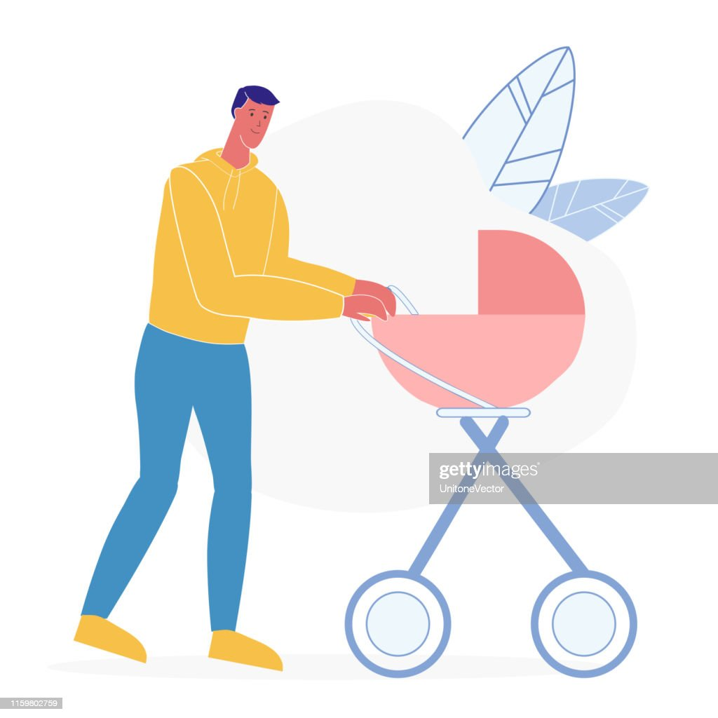 Father with Baby Carriage Flat Vector Illustration : stock illustration