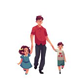 Father with daughter and son walking together