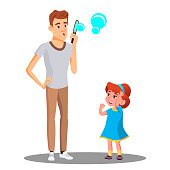 Father With Daughter Blow The Soap Bubbles Vector. Isolated Illustration