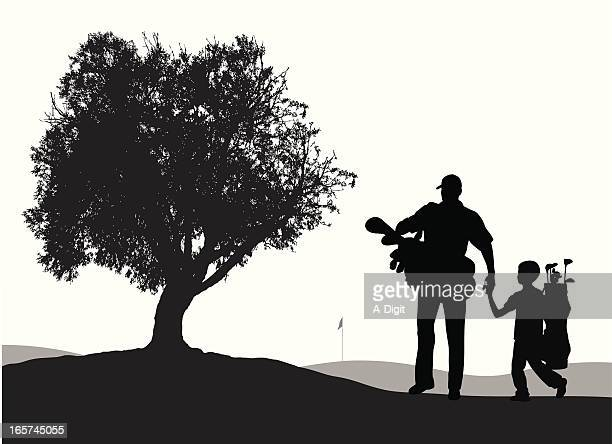 Father'n Son Golf Vector Silhouette