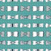 Father's Day background. Hand drawn Bow Ties Vector Seamless pattern. Men's Accessories.