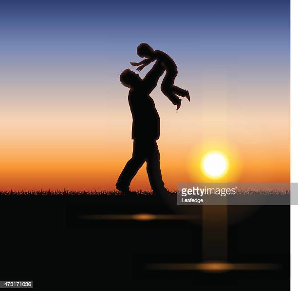 father's day background[father and child in the sunset] - fathers day stock illustrations
