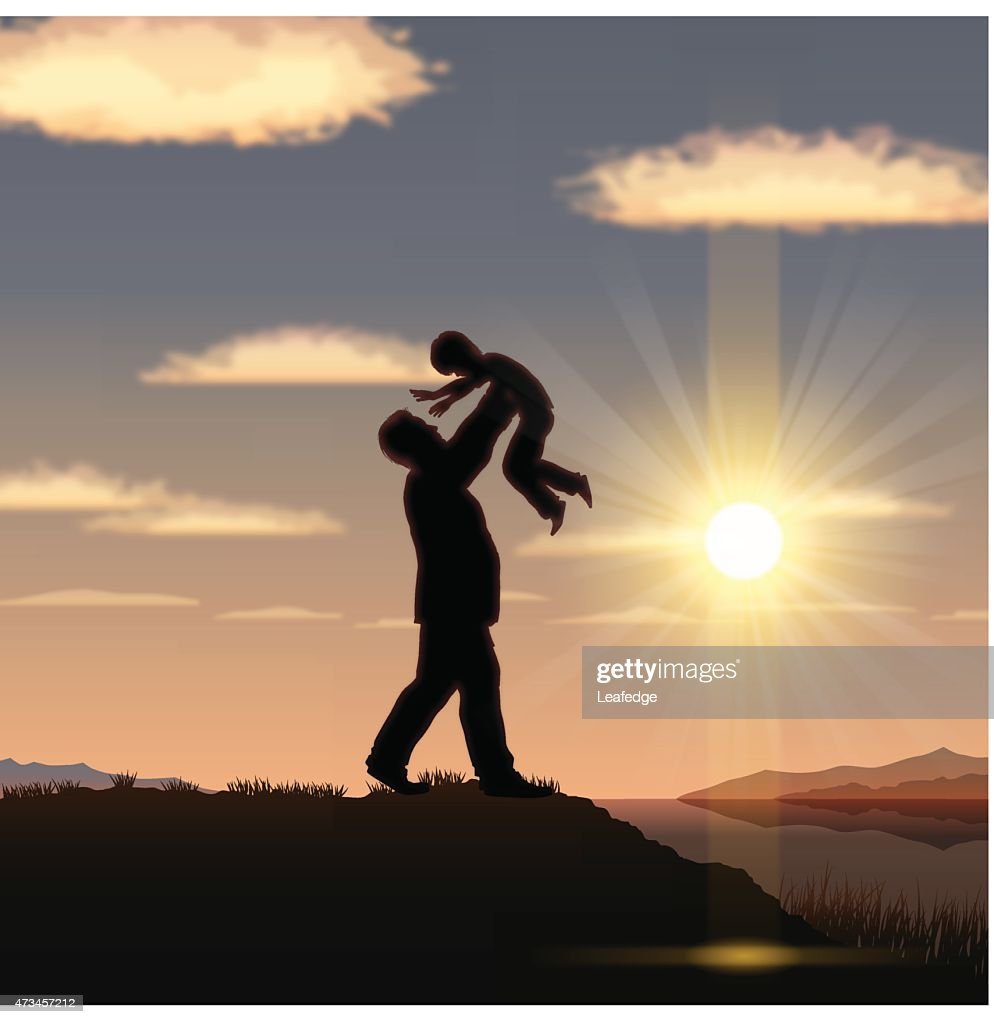 Father's Day background [ Vater und Kind in den Sonnenuntergang ] : Vektorgrafik