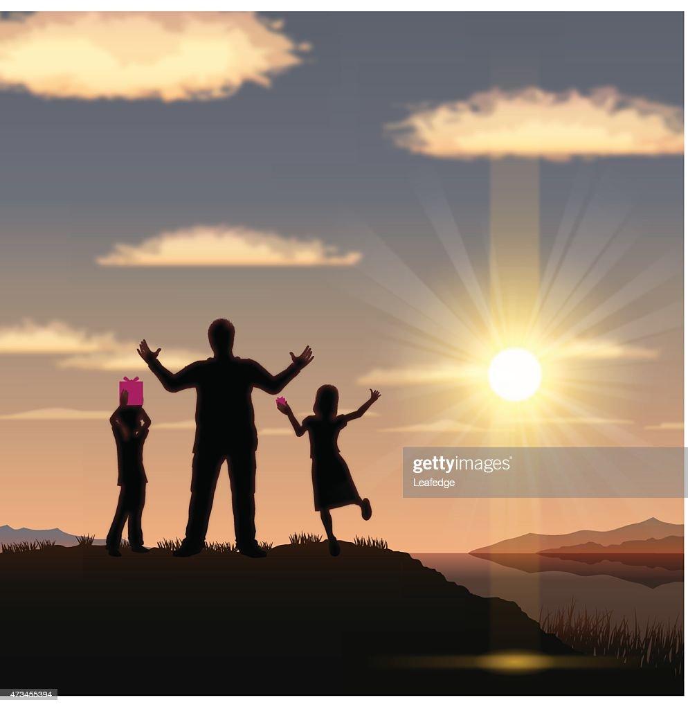 Father's Day background [ Vater UND Kinder am sunset ] : Vektorgrafik