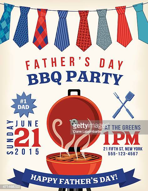 father's day bbq invitation template - fathers day stock illustrations