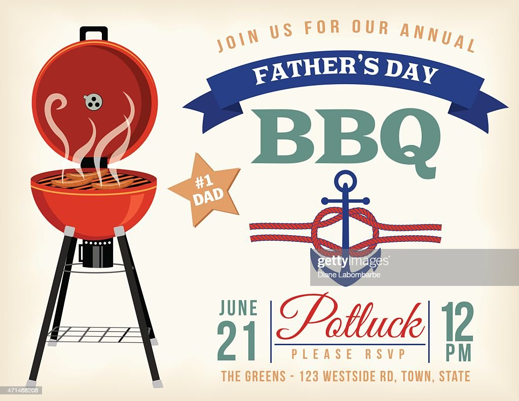 fathers day bbq invitation template vector art getty images