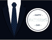 Fathers day calligraphic banner greeting card with dark blue tie light grey white shirt and navy blue blazer vector illustration