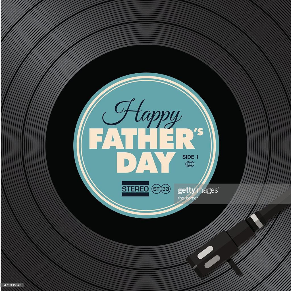 Father's day card. Music vinyl disc concept.