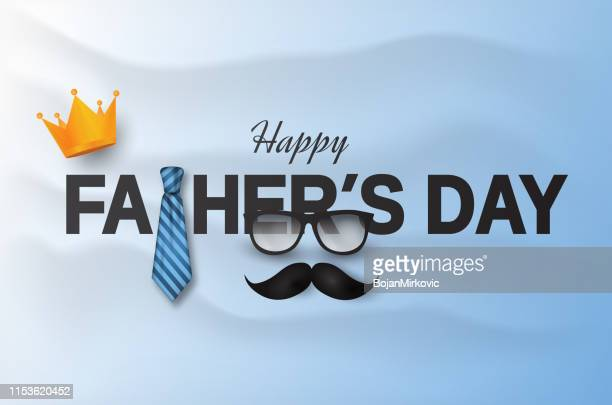 father's day card with crown, necktie and mustache and wavy background. vector illustration - fathers day stock illustrations