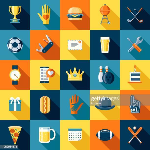 illustrazioni stock, clip art, cartoni animati e icone di tendenza di set di icone di design piatto del giorno del papà - palla da bowling