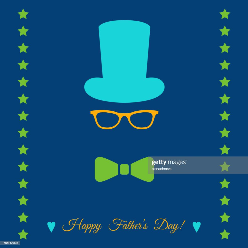 Father's Day greeting card with hat, glasses, bow tie.