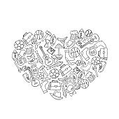 Fathers Day holiday banner in the shape of a heart in doodle style coloring book. Men's lifestyle, sports equipment, clothes and accessories.