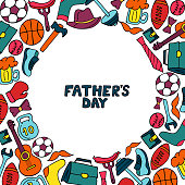 Father`s Day holiday frame in doodle style. Men`s lifestyle, sports equipment, clothes and accessories.