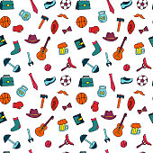 Fathers Day holiday seamless pattern in doodle style. Men s lifestyle, sports equipment, clothes and accessories.