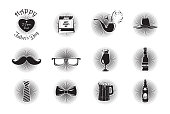 Fathers Day icons set