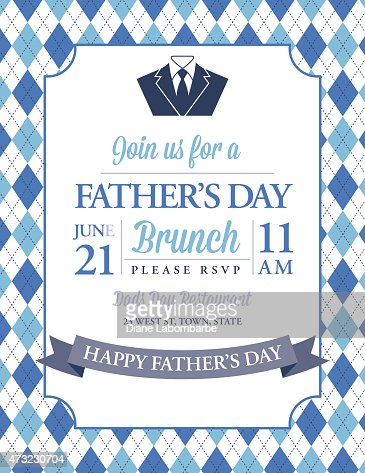 Fathers Day Invitation Template With Argyle Background ...