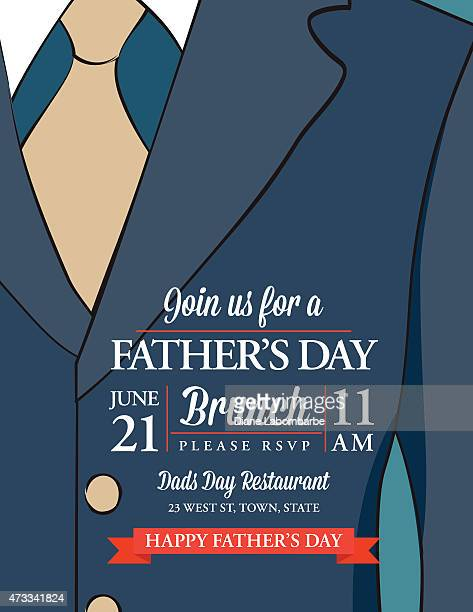 father's day invitation template with suit and tie - masculinity stock illustrations, clip art, cartoons, & icons