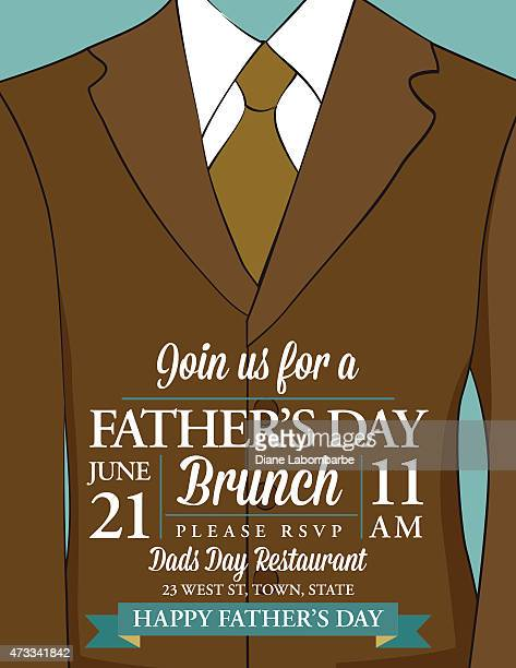 Father's Day Invitation Template With Suit And Tie