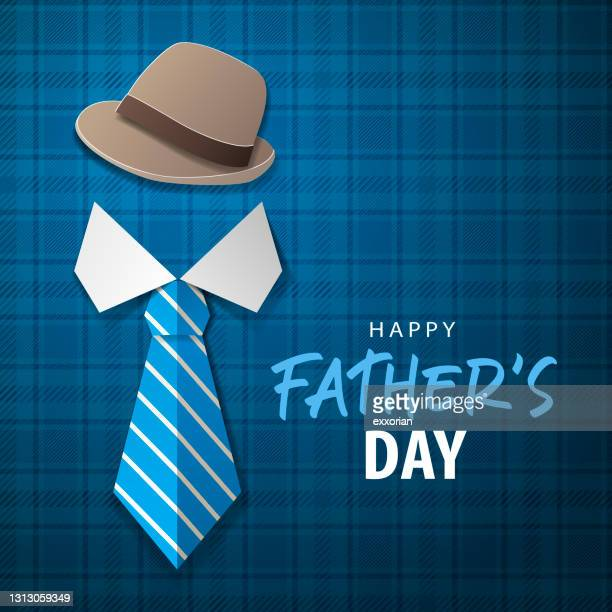 father's day origami hat & tie - shirt and tie stock illustrations