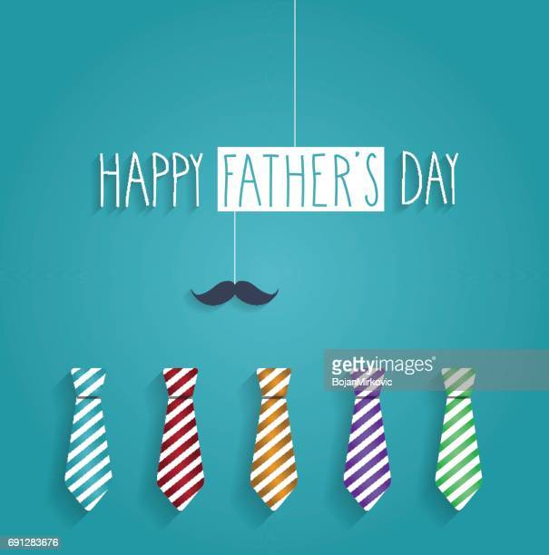Fathers Day poster. Colorful ties on blue background