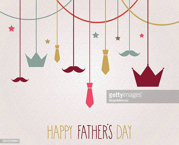 fathers day poster. hanging colorful crown and tie - fathers day stock illustrations