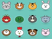 Fatty cute head of Animal sign symbol for Chinese zodiac horoscope collection set vector icon design illustration