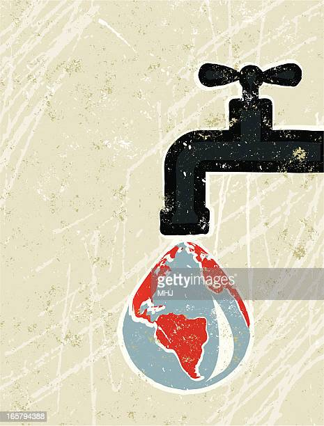 Faucet ( Tap ) and World map