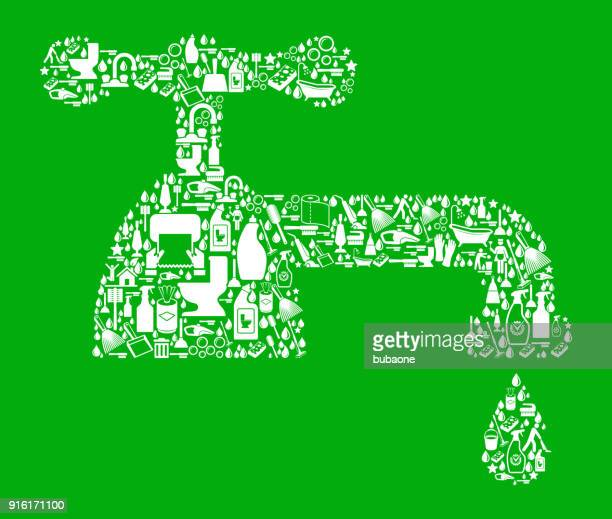 faucet  cleaning green background pattern - paper towel stock illustrations, clip art, cartoons, & icons